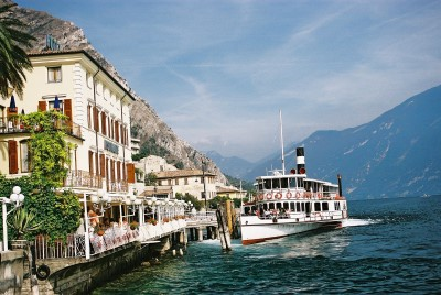 "Paddle Steamer ""Italia"" docks at Limone"