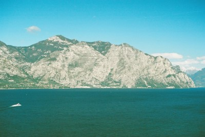 Limone beneath cliffs, seen as Ferry approaches